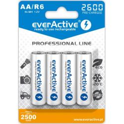 "Akumulatorki AA / R6 everActive Ni-MH 2600 mAh ready to use ""Professional line"" (box 4szt)"