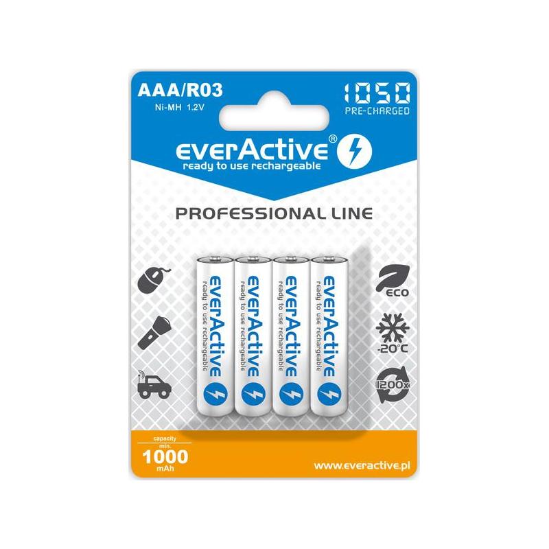 "Akumulatorki AAA / R03 everActive Ni-MH 1050 mAh ready to use ""Professional line"" (box 4 szt)"