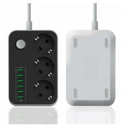 Listwa zasilająca 3 Gniazda + 6x USB Przedłużacz