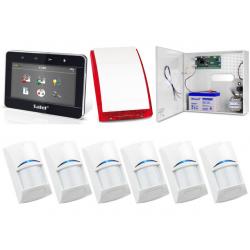 Zestaw alarmowy SATEL Integra 32, klawiatura dotykowa, 6 czujek, sygnalizator zewnętrzny