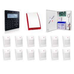 Zestaw alarmowy SATEL Integra 64, klawiatura sensoryczna, 12 czujek, sygnalizator zewnętrzny