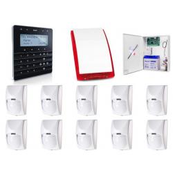 Zestaw alarmowy SATEL Integra 64, klawiatura sensoryczna, 10 czujek, sygnalizator zewnętrzny