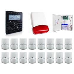 Zestaw alarmowy SATEL Integra 64, klawiatura sensoryczna, 16 czujek, sygnalizator zewnętrzny