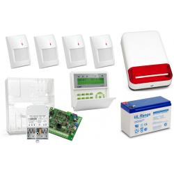 Zestaw alarmowy SATEL Integra 24, Klawiatura LCD, 4 czujniki ruchu, sygnalizator zewnętrzny SPL-2030