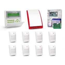 Zestaw alarmowy SATEL Integra 128-WRL, Klawiatura LCD, 8 czujników ruchu, sygnalizator zewnętrzny SP-4001, powiadomienie GSM
