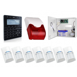 Zestaw alarmowy SATEL Integra 32, klawiatura sensoryczna, 7 czujek, sygnalizator wewnętrzny