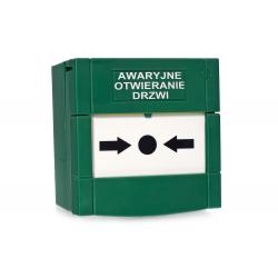 Resetowalny przycisk awaryjnego otwierania drzwi zielony GBC