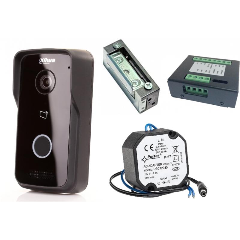Wideodomofon IP DAHUA VTO2111D-WP + Kontroler przejścia + Elektrozaczep + Zasilacz